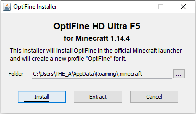 Window to install optifine for minecraft on pc