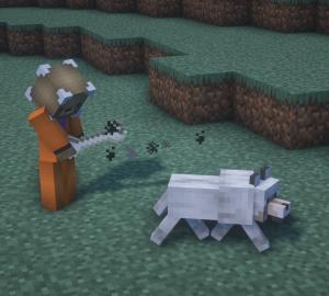 Giving Dog a Bone in Minecraft