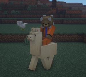Riding a Llama in Minecraft
